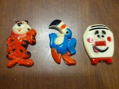 MAGNETS: Lot of 3: 1970s KELLOG'S: TONY the TIGER, TOUCAN SAM, and a TOASTER