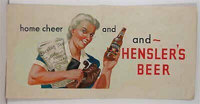 1940s ORIGINAL ART WORK FOR A HENSLERS BEER SIGN BY SVEN OHRVEL CARLSON -GOUACHE