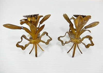 Pair Small Antique-Vintage French Bronze or Brass Sconces. Floral & Ribbons