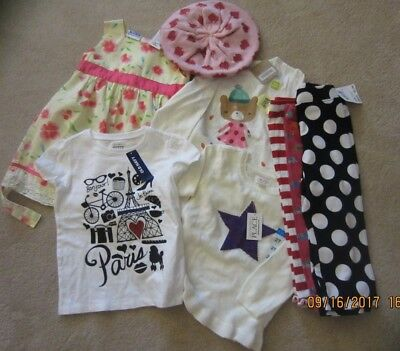 Lot 8 Girls Assorted 18 24 2T Tees Dress Leggings Sweater Hat Some New Some Used