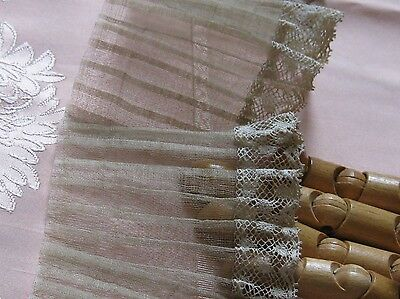 ANTIQUE SHEER COTTON CRIN PLEATED Lace Edge FRILL/DUST RUFFLE/FRENCH DOLLS
