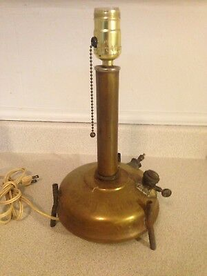 Antique Brass Optimus No. 100 Stove Converted To Cool Table Lamp