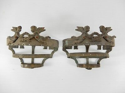 Pair Small Antique-Vintage French Bronze or Brass Sconces. Cherubs-Angels