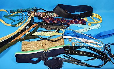 26 Pc Lot Vintage Womens Belts LOT 1950's 60s 70s Vinyl Fabric Silk & More