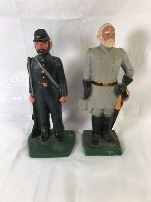 John Wright Cast Iron - Robert E. Lee & Union Soldier Civil War Bookends