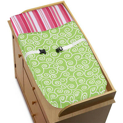 Sweet Jojo Designs Changing Table Pad Cover for Pink Green Olivia Baby Bedding