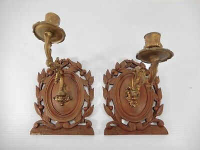Pair Antique-Vintage Piano Candle Sconces. Carved Wood & Cast Brass