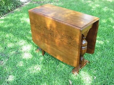 Antique Oak Gate Leg Drop Leaf Kitchen Table
