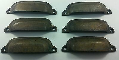 6 Antique Brass Apothecary Cup Drawer Cabinet Bin Pulls Handles Rustic #Z60