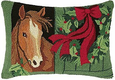 "Holly Horse Christmas Stall by Designer Susan Winget - 16"" x 22"" Hooked Pillow"