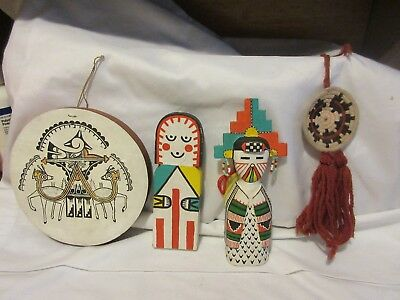 3 Native American Hopi Paintings on Wood - One Signed & A Mini Woven Basket
