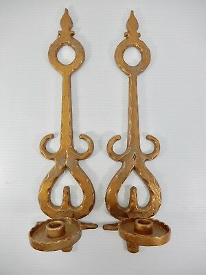 Pair No. 2. Vintage Cast Aluminum Candle Sconces with Gold Painted Finish.