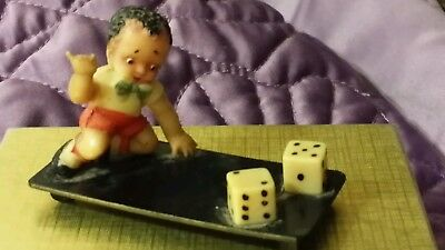ANTIQUE VINTAGE  CELLULOID TOY FIGURINE - BLACK BOY ROLLING DICE - Made in Japan