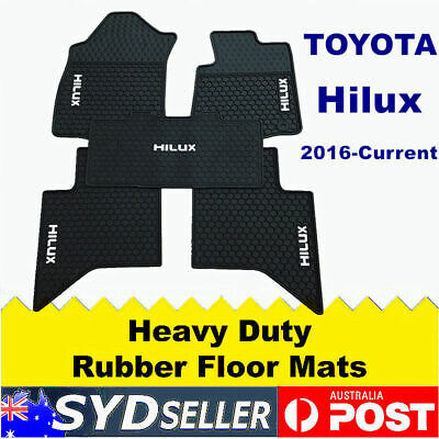 Red FLOOR MATS FOR TOYOTA HILUX HEAVY DUTY RUBBER WATERPROOF 2016 2017 ONWARDS
