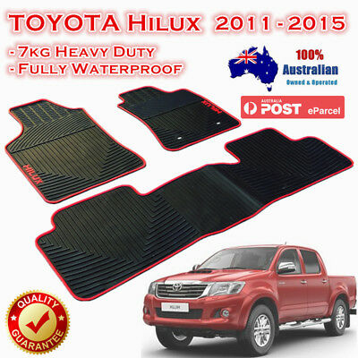 Red FLOOR MATS FOR TOYOTA HILUX HEAVY DUTY RUBBER WATERPROOF 2011 - 2015