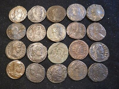 INV #Th93 Late Roman Coppers 4th-5th Century AD Better Grades Group 20 Pieces