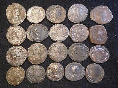 INV #Th94 Late Roman Coppers 4th-5th Century AD Better Grades Group 20 Pieces