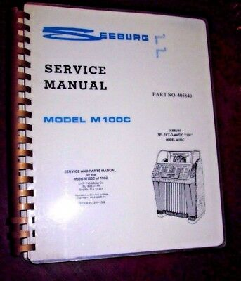 SEEBURG SERVICE MANUAL Model M100C Select-o-matic 100 Jukebox NICE