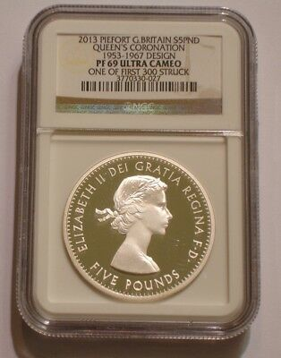 2013 PIEDFORT Silver 5 pound Great Britain NGC PF 69 ULTRA CAMEO 1953 - 1967