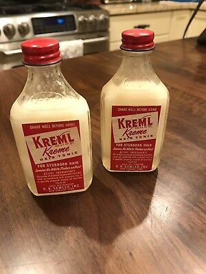 Two Vintage ADVERTISING KREML HAIR TONIC GLASS BOTTLE  Unopened Great Label