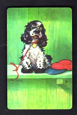 Vintage Swap/Playing Card - BUTCH Staehle Dog - Waiting on Leash