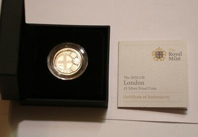 2010 LONDON Silver one pound of Great Britain GEM PROOF in Box with COA