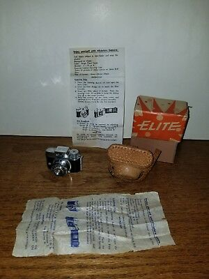 Vintage Elite Mini Camera In Leather Snap Case Made In Japan