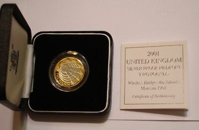 2001 PIEDFORT Silver & Gold MARCONI two pounds of Great Britain GEM PROOF in Box