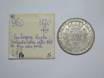 Brazil 1820 B 960 Reis Struck Over 8 Reales Ex:kurt Prober Old Coin Collection T