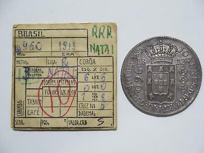 Brazil 1813 R 960 Reis Struck Over 8 Reales Ex:kurt Prober Old Coin Collection T