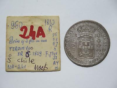 Brazil 1810 R 960 Reis Over/ 1809 Chile 8 Reales Ex:kurt Prober Coin Collection