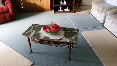 Vintage Retro 1960s Wooden Coffee Table with Decorative Marble Effect top