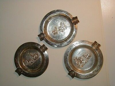 3 Vintage Peruvian Sterling Silver Llama Ashtrays Peru .925- 80 grams