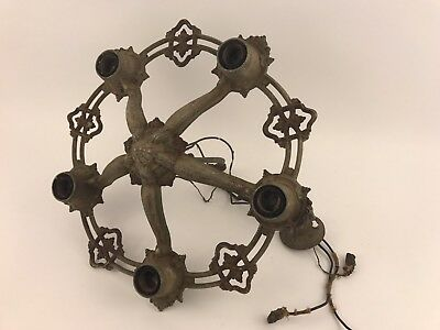 "Vintage ART DECO Cast Iron arm CHANDELIER CEILING Hanging LIGHT FIXTURE 16"" Wide"