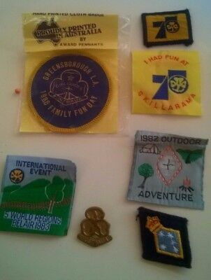 Lot Girl Guide Brownie Badges & Hat Pin Vintage 1980's Woven Patches