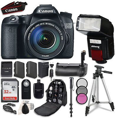 Canon EOS 70D DSLR Camera with EF-S 18-135mm f/3.5-5.6 STM Lens Accessory Bundle