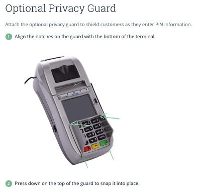 First Data FD130 Terminal Privacy Guard Addon Pin Number