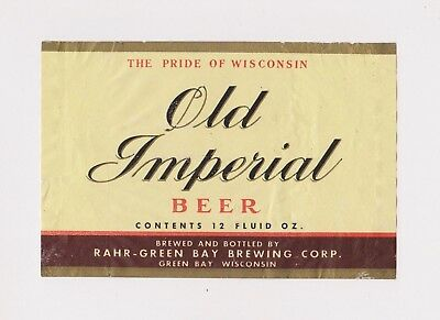 1950s OLD IMPERIAL BEER label from WISCONSIN!