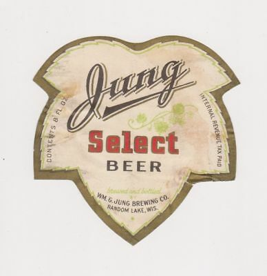 1940s I-R-T-P JUNG SELECT BEER 8oz beer label from WISCONSIN!