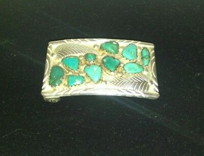 Gorgeous Vintage Sterling Silver Turquoise Belt Buckle by Zuni A Penketewa
