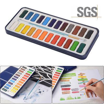 12X/24X Watercolor Block+Brush+Portable Metal Case with Lid for Mixing Palette
