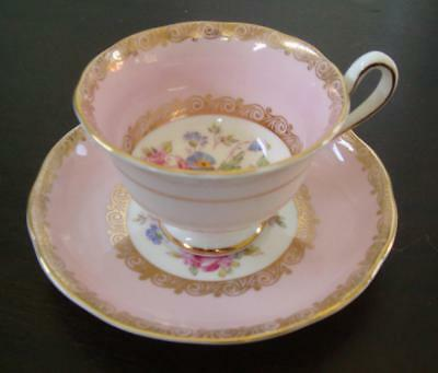 Royal Albert vintage cup and saucer, pink and gold floral, English Bone China