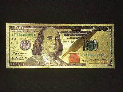 ✯ $100 ✯ Gold Leaf ✯ Note Dollar Bill Currency✯Cash Money Novelty ✯ Estate Lot ✯