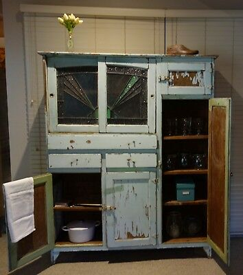 Vintage original Australian kitchen dresser with stunning lead light doors