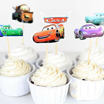 24 Pcs Cars McQueen CUPCAKE CAKE TOPPERS Party Supplies Lolly Loot Bags Decor