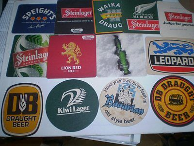 13 different old advertising beer coasters  -  New Zealand
