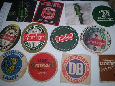 12 different old advertising beer coasters  -  New Zealand