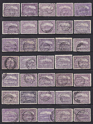 Australian state stamps, Tasmania 2d purple pictorials x35, used (A4)