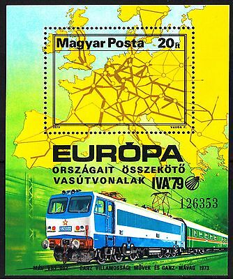 Hungary 1979 Locomotives  Exhibition - Hamburg Minisheet MNH