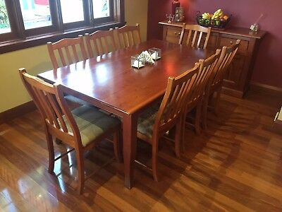 Timber Dining Room Table Oregon And 8 Oregon and upholstered chairs